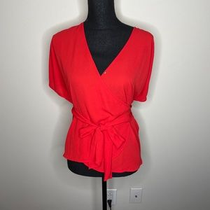 Chelsea28 Red V-Neck Self-Tie Belted Wrap Blouse S